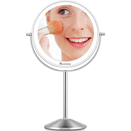 alvorog Makeup Mirror with 3 Light Modes, Double Sided USB Rechargeble Table Mirror, 5× Magnifying Mirror with Light,Stepless Dimming, 30 Mins Auto Off,Best Gift for Lady