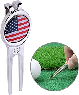 SPOMR Divot Tool Golf Greens Fork-Golf Divot Repair Tool with Removeable Golf Ball Marker - Golf Accessories