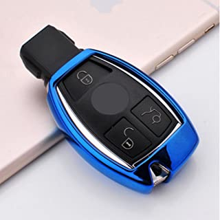 ontto for Mercedes-Benz Key Cover Case Keyless Smart Car Key Holder Remote Control Key Fob Jacket TPU Key Shell Fit for Benz C E S M CLS CLK GLK GL Class Blue