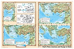 Paul's Journeys and Voyage to Rome - Bible Christian Wall Map Poster