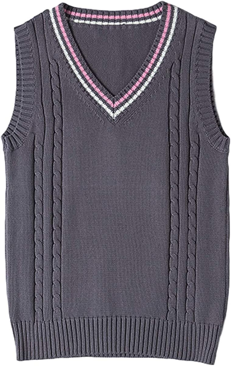 Gihuo Women's V Neck Arlington Mall JK Vest 4 years warranty Sleeveless Sweater School Uniform