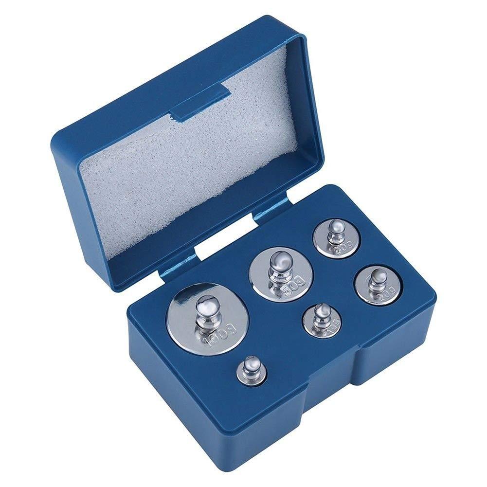 6PCS 200g Calibración Peso Set 100g 50g 2x20g 10g 5g con pinzas para báscula