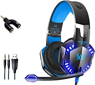 Kotion Each G2000 Gaming headset headphone with LED lights on the earcups and microphone for ps4, xbox, pc, tablet and mobile