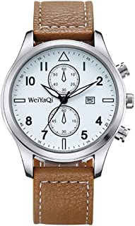 Fashion Leather Strap Watches WeiYaQi 89018 Fashion Quartz Movement Wrist Watch with Leather Band (Brown) (Color : Brown)