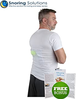 Stop Snoring T-Shirt - Most Comfortable Snoring Aid. Health Expert Recommended for Back Snorers! Eliminates Snoring by adjusting your sleeping position. INCLUDED: Guide to Snoring Ebook