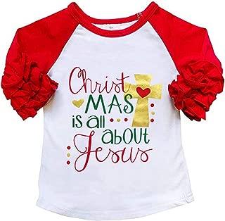 Baby Kids Girls Christmas Blouse Ruffles Long Sleeve T-Shirt Tops Clothes