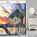 Rustic Cabin Shower Curtain Fishing Shower Curtain Natural Scenery...