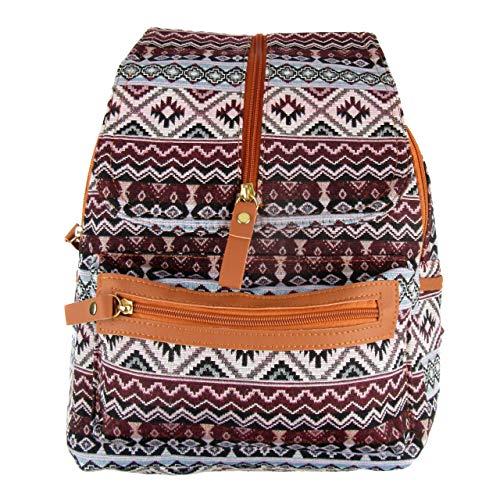Hippie Canvas und PU Leder Rucksack, Casual Rucksack für Damen und Reisetasche. Maße 32 cm x 27 cm x 12 cm. (Rose)