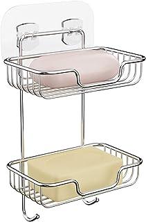 FANHAO石鹸置き ステンレス2層ソープディッシュ 強力粘着固定 ソープホルダー 浴室 洗面所 収納ラック キッチンラック サビ防止 水切り