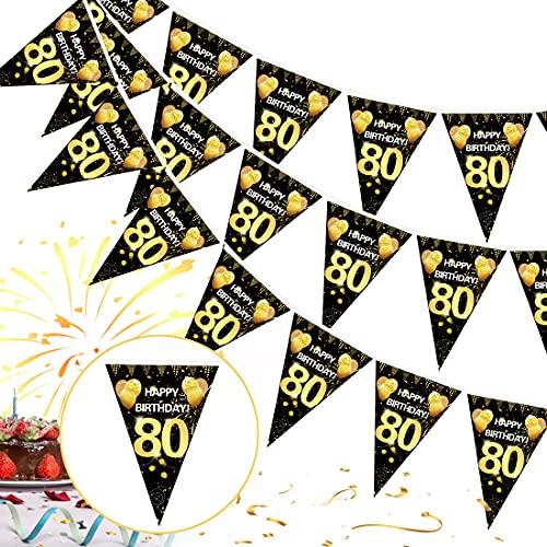 80 Cumpleaños Pancarta Triángulo Oro Negro,80 Cumpleaños Banderines Decoracion de Fiesta,80 Años Oro Negro Guirnalda Banderas,80 Cumpleaños Banderines Decoración Colgante Pancarta de Bienvenida