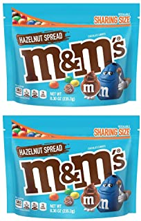 M&M's Chocolate Hazelnut Spread Candies! Hazelnut Spread Candy 8.30 Oz Pack Of 2! Sharing Size in Resealable Bag! Delicious Crunchy Chocolate Candy!
