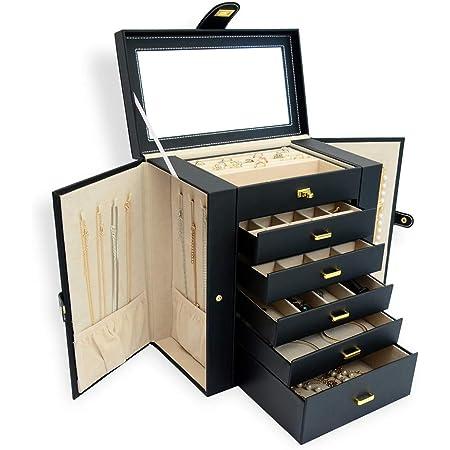 BUBM ジュエリーボックス 大容量 6段 鏡付き アクセサリーボックス ジュエリー収納 ジュエリーケース アクセサリーケース ネックレスケース 5段引き出し 宝石箱 レディース小物入れ 幅30×奥行17×高さ32cm ブラック