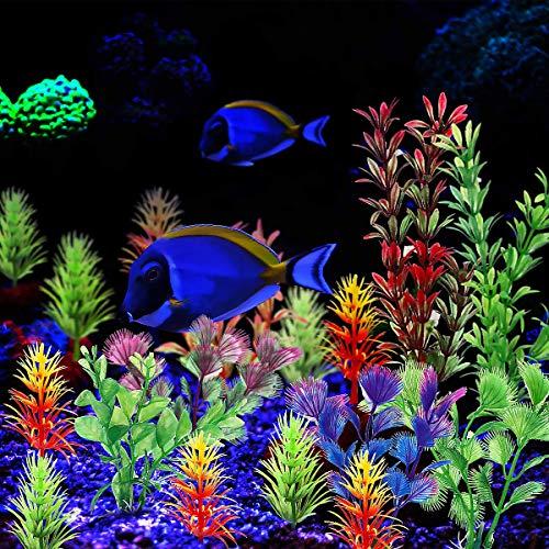 19 Stück Künstliche Wasserpflanzen, Aquarium-Dekorationsset aus Kunstharz, Kunststoff Pflanzen Aquarium Aquariumpflanze Fisch Tank Dekoration, Natürlich Wirkende Kunstpflanzen für Zuhause Aquarium