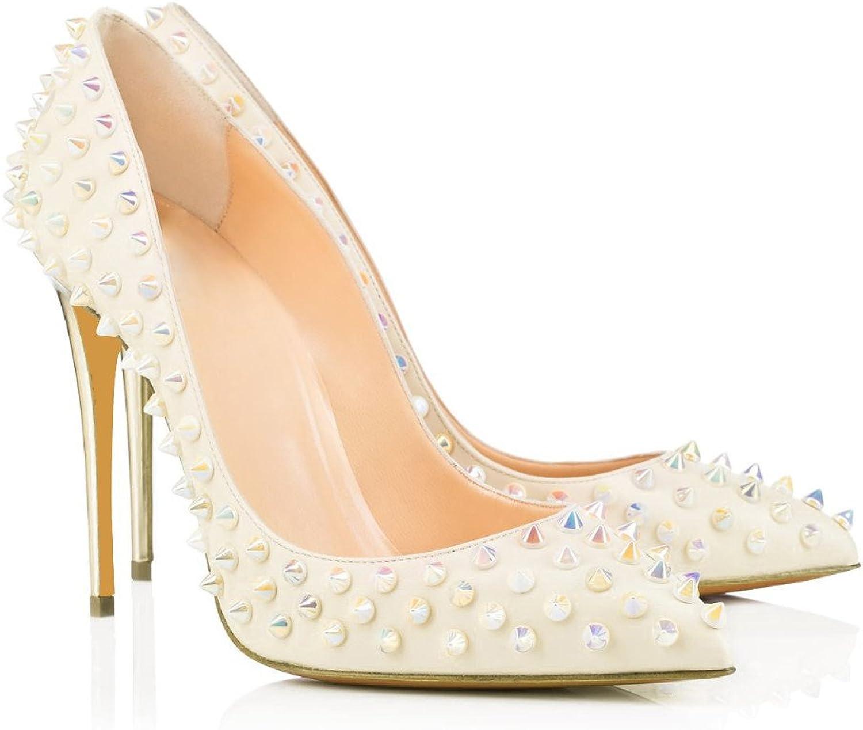 AIWEIYi Womens Rivets Pointed Toe Stiletto Heel Platform Pump shoes White