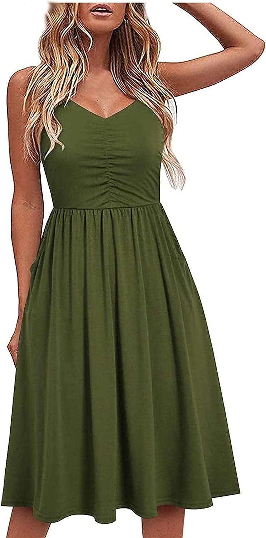AODONG Summer Dress for Women,Beach V Neck Swing Dress Casual Seaside Beach Dresses Solid Folds Sleeveless Mini Sundress