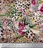 Soimoi Rosa Poly Georgette Stoff Blätter, Nelken & Leopard