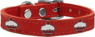 طوق من الجلد الطبيعي للكلاب بحليات على شكل كب كيك أحمر 83-119 Rd22 من ميراج بت برودكتس، مقاس 22، أحمر