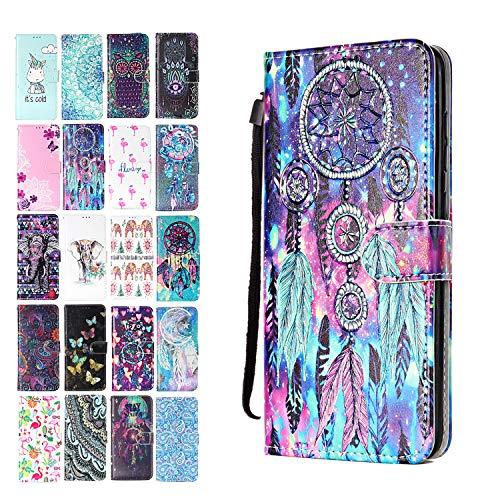 Ancase Lederhülle kompatibel für Samsung Galaxy A40 Hülle Bunter Traumfänger Muster Handyhülle Flip Hülle Cover Schutzhülle mit Kartenfach Ledertasche für Mädchen Damen