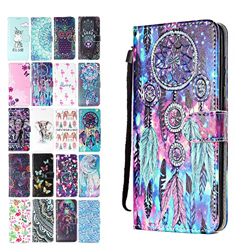 Ancase Lederhülle kompatibel für Samsung Galaxy S8 Hülle Bunter Traumfänger Muster Handyhülle Flip Case Cover Schutzhülle mit Kartenfach