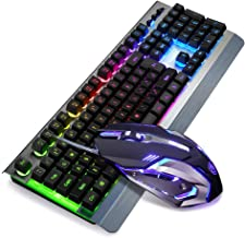 SADES Whisper?Gaming Keyboard and Mouse Combo Wired LED RGB Backlit,104 Keys USB Ergonomic Wrist Rest Keyboard, 3200DPI 6 Button Mouse for Windows PC & Mac OS
