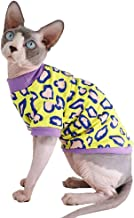 Sphynx Hairless Cat Cute Breathable Summer Cotton T-Shirts Pet Clothes,Round Collar Kitten Shirts, Cats & Small Dogs Apparel S (3.3-4.4 lbs) Leopard