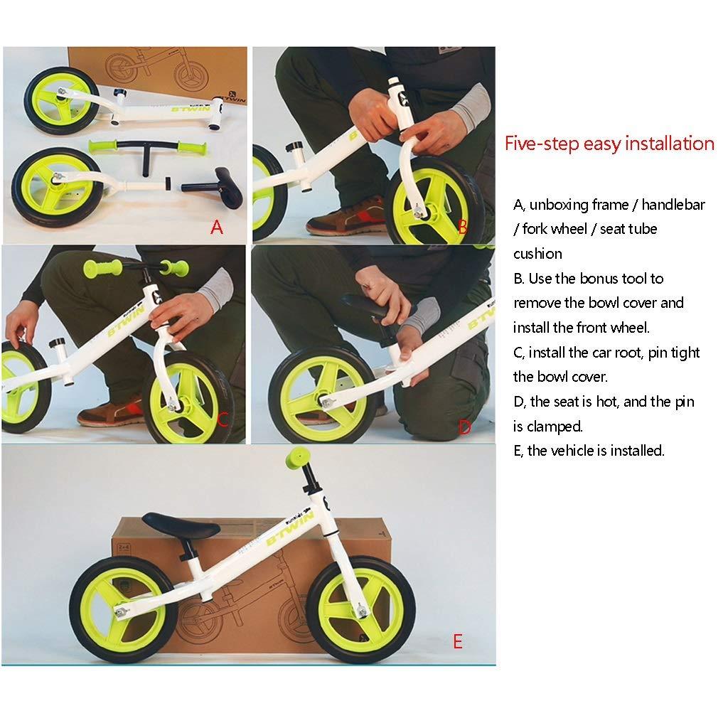 XIAOPING Bicicleta De Equilibrio De 12 Pulgadas, Bicicleta De Entrenamiento For Caminar For Niños, Niñas, Niños Y Niños Pequeños De 2 A 6 Años, Juguete For Niños, Sin Pedal, Asiento Ajustable, Carro