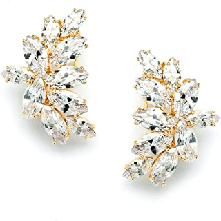 Shimmery Marquis Cluster Cubic Zirconia Bridal or Special Occasion Earrings - 14K Gold Plated