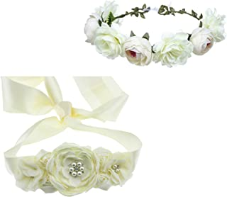 Flower Sash Belt Floral Hair Crown Headband Set for Baby Shower Gender Reveal Party Wedding Maternity Photography Ivory