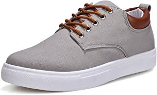 shangruiqi Men's Casual Flat Sport Shoes Unisex Lovers Style Lace Up Canvas Ankle Sneakers Abrasion Resistant ( Color : Gray , Size : 42 EU )