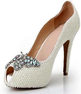 Women's High Heels Wedding Shoes, Stiletto Heel High 12Cm Pearl Rhinestone Butterfly Shallow Mouth Platform High Heels Sexy Non-Slip for Banquet Wedding to Wear