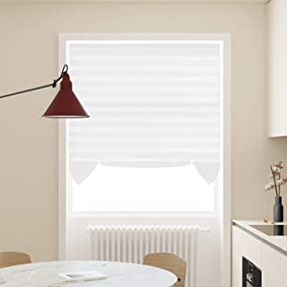 Acholo Easy to Install Pleated Fabric Shades Blinds Room Darkening Window Shades Blinds White 36