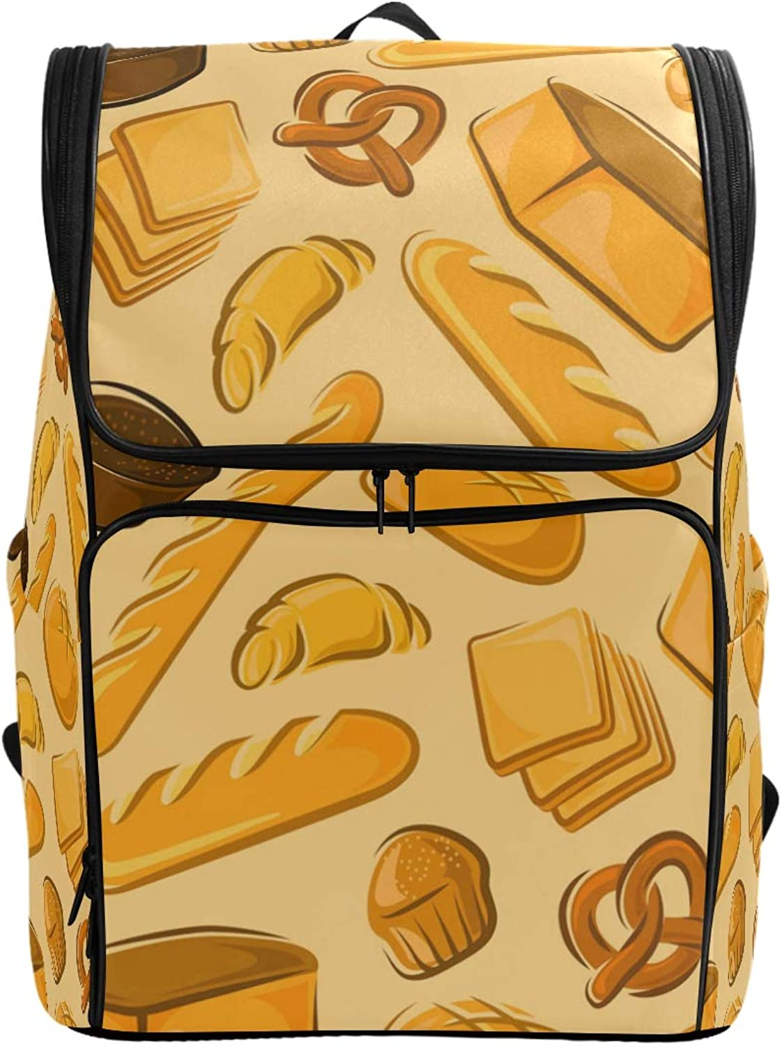 FANTAZIO Bakery Fresh Bread and Cakes Laptop Outdoor Backpack Travel Hiking Camping Rucksack Pack, Casual Large College School Daypack