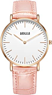 Baogela Womens Fashion Rose Gold Chronograph Watch with Gray Leather Watch Strap