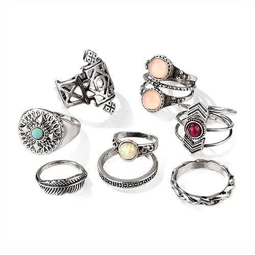 e63471c5f Hanloud Vintage Knuckle Rings Set Multi Cactus Crystal Crown Elephant  Animal Stacking Rings 8/12