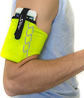 Sprigs Armband for iPhone 11/x/xr/8/7 Plus, Galaxy S10/S9, Google Pixel 4. Lightweight & Comfortable Running Armband, Stretches to Fit All Phones with Case - HiViz, Medium