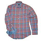 HUGO BOSS Camisa de algodón a cuadros ajustada Ronny color naranja cuadros 811 (S)