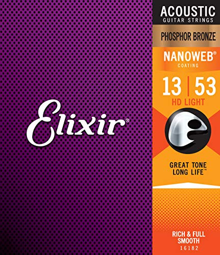 Elixir® Strings Phosphor Bronze Acoustic Guitar Strings w NANOWEB® Coating, HD Light (.013-.053)