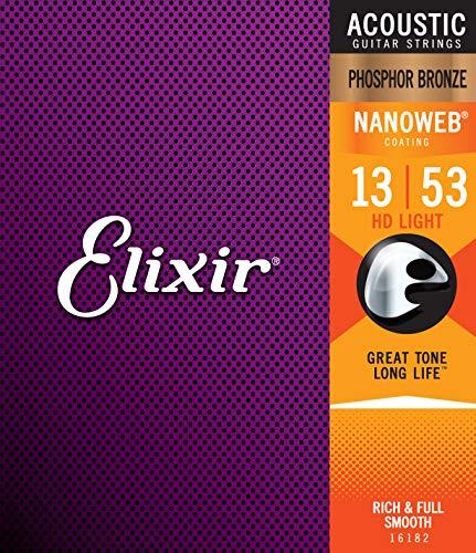 Elixir Strings Phosphor Bronze Acoustic Guitar Strings w NANOWEB Coating, HD...