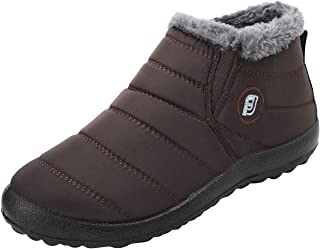 L-RUN Womens Snow Boots Winter Fur Ankle Boots Womens Footwear Brown Women_4.5, Men_4 M US