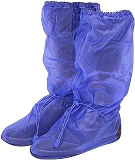 Cubrecalzado Impermeable de PVC - Resistente y Reutilizable - con Suela Antideslizante - galochas para Lluvia, Nieve y Fango - Modelo Alto - Negro/Azul