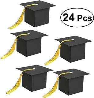 Tinksky 24 STÜCKE Graduation Cap Geformt Geschenkbox Candy Sugar Pralinenschachtel Graduation Party Favor Box (Schwarz)