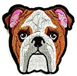 Nipitshop Patches Head Dog American Bulldog Dogs Pets Animals Cartoon Kid Baby Girl Jacket T-Shirt Patch Sew Iron on Embroidered Sign Badge Costume Clothing