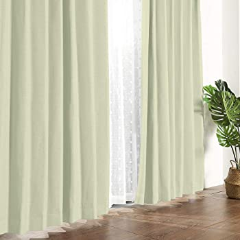 MYSKY HOME 遮光カーテン 2級遮光カーテン 2枚組 リネン ドレープカーテン 断熱防音省エネ 厚手 UVカット形状記憶加工 幅100cm (100x200cm, グリーン) MHJ004P