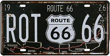 Eureya Plaque d'immatriculation vintage en métal Route 66 - Décoration murale pour garage, café, bar, 15 x 30 cm