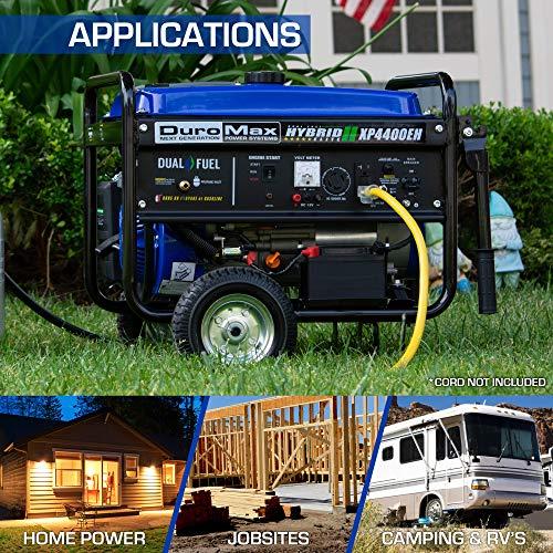 DuroMax XP4400EH Dual Fuel Portable Generator-4400 Watt Gas or Propane Powered Electric...