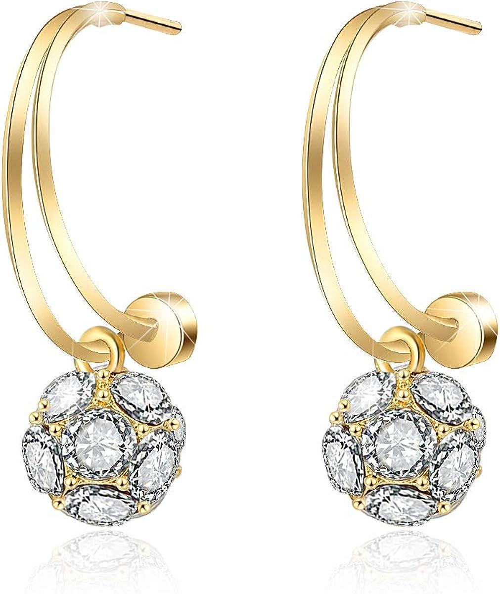 EYESHOCK Cute Earrings for Women In stock Shipping included Girls Crystal Flower Austrian