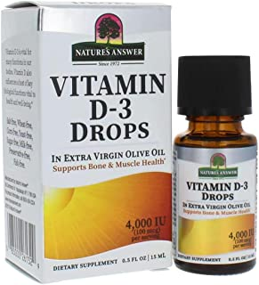 Nature's Answer Vitamin D-3 Drops | Blended with Extra Virgin Gold Olive Oil | Quickly Absorbed into Body | No Fillers, No...
