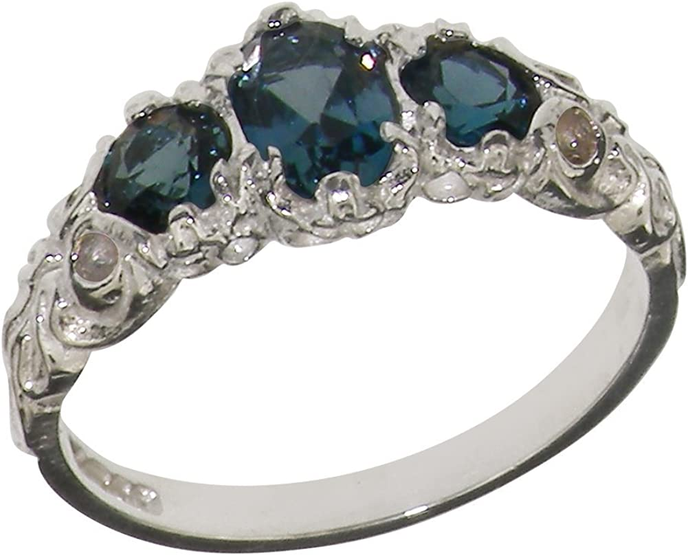 LetsBuyGold 18k White Gold Real Genuine Blue Topaz Womens Band Ring