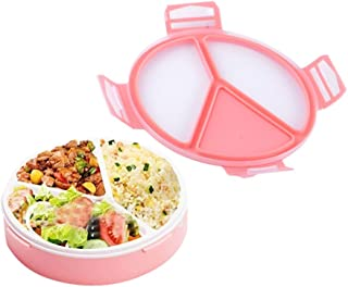 WDHouse Toddler Leakproof Bento Lunch Box with 3 Compartments, Lunch Container Kit for Kids Back to School, All-in-one Stylish Food Storage Containers-Microwave Safe-Pink