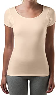 T THOMPSON TEE Sweatproof Undershirt for Women with Underarm Sweat Pads (Slim Fit, Scoop Neck)
